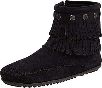 Minnetonka Women s Double Fringe Side Zip Boot,Black,10 M US