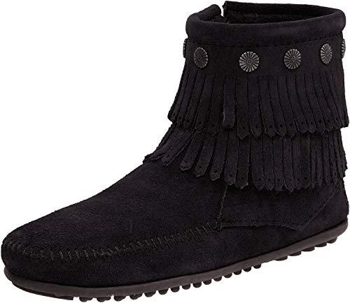 Minnetonka Women's Double Fringe Side Zip Boot,Black,10 M US