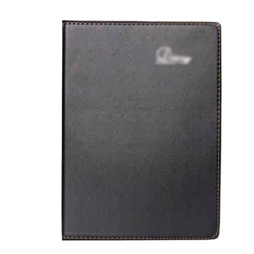 Pocketbook anteckningsbok svart anteckningsblock bärbar bärbar arbetsmöte skiva bok förtjockad dagbok A4 enkel företagskonto bok (färg: Svart, storlek: 19,5 x 13,5 cm)