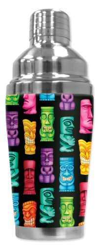 "Mugzie ""Tikis"" Cocktail Shaker with Insulated Wetsuit Cover, 16 oz, Black"