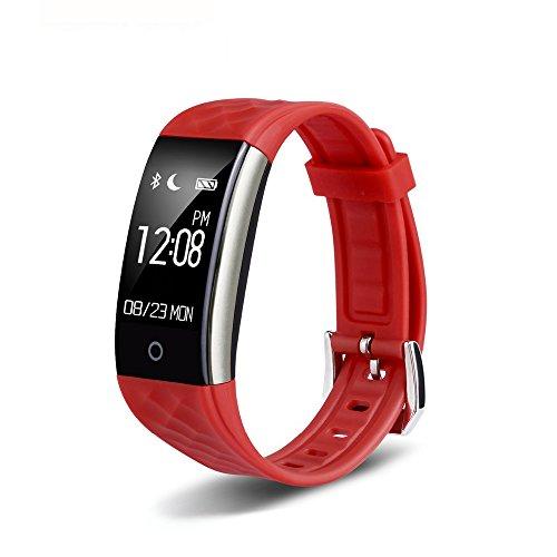 Redlemon Smartwatch Tipo Pulsera Fitband con Podómetro Contador de Calorías Notificaciones de Mensajería y Llamadas Monitor Ritmo Cardiaco A Prueba de Agua y Polvo Compatible con Android y iOS. Rojo