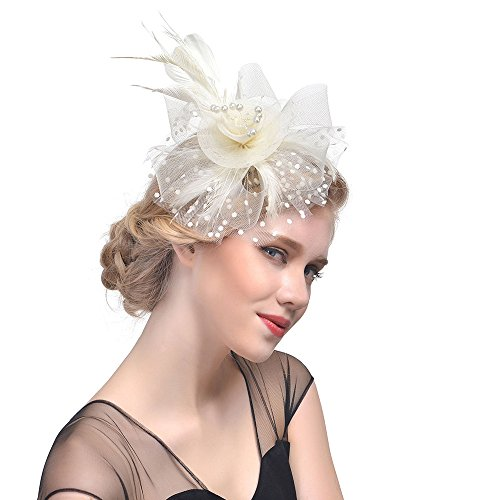 D&XQX Birdcage Veil Hat Headwear, Accesorios para El Cabello Boda Mujeres Flor Cintas De Malla Plumas Coctel Cocktail Tea Party Opaska,g