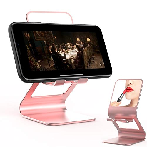 JIAHENG Caja del teléfono Teléfono móvil Universal/Tablet PC Multifuncional Metal Soporte de Escritorio con Espejo de Maquillaje Cubierta de Cuero (Color : Pink)