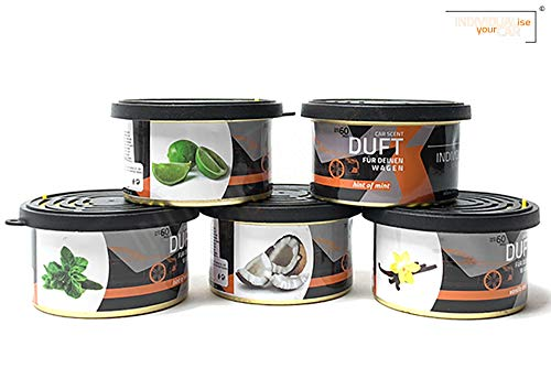 IndividualiseYourCar Autoduft Dose verschiedene Düfte wählbar, Minze, Kokos, Vanille, Limette (1er Set, Lime Lover)