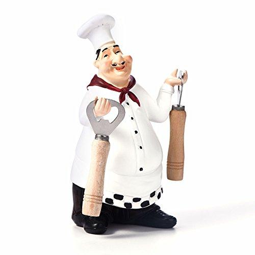 Yagosodee Cocina Estatua Chef Figurita Adorno Cocina Restaurante Resina Artesanía Vintage Decoración del Hogar ( Abridor de Botellas de Cerveza )
