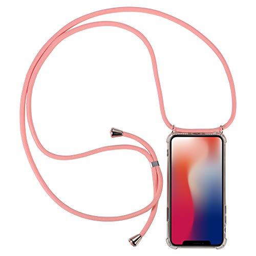 Joyall - Custodia per LG K9, custodia per LG K9, in morbido poliuretano termoplastico, antiurto, per LG K9 (collana con cordino per il collo, colore: Rosa