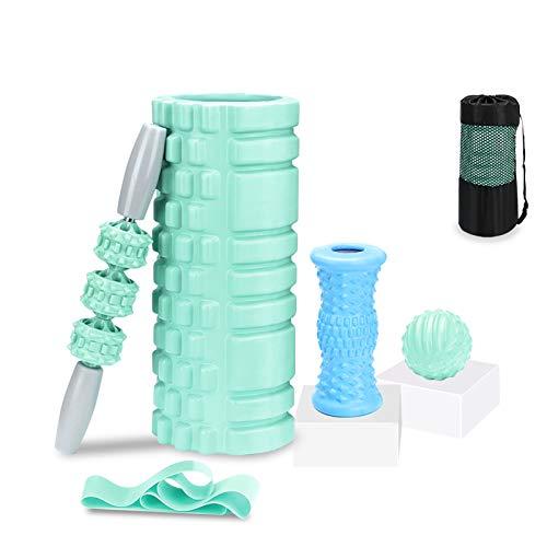 フォームローラー ストレッチ 筋膜リリース ヨガポール スティック 5点セット エクササイズ トレーニング 健康器具 首 肩こり 背中 腰 太もも 足 筋肉 ほぐす 運動回復 収納袋付き(ライトグリーン)