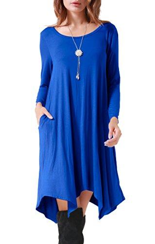 Invug Women Casual Loose Soft Crewneck Long Sleeve Pockets Swing T-shirt Dress Sapphire Blue XXL