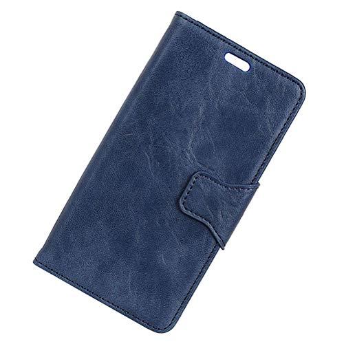 Mipcase - Funda de piel para Vodafone Smart V8 (cierre magnético), color negro, piel, azul, Vodafone Smart V8