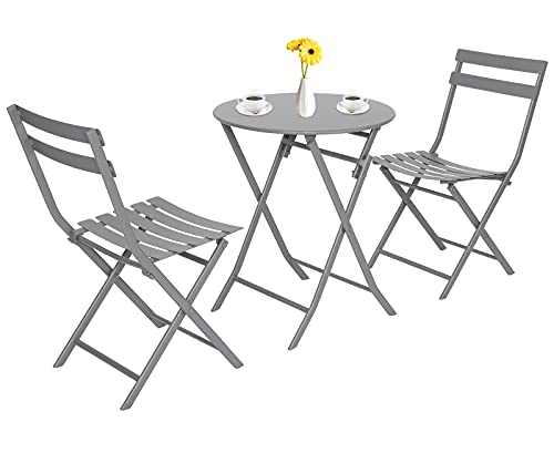 Patio Balcony Bistro Table and Chairs for 2, Premium Steel Foldable Garden Bistro Set of 3, Folding Outdoor Dining Round Table and 2 Chairs for Patios Garden Yard Porch Poolside Lawn Balcony Grey