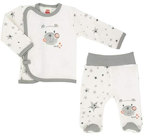 Makoma Baby Erstausstattung Set Unisex - Strampelhose mit Fuß Langarm Wickeljacke Bekleidungsset 2tlg. Für Neugeborene Teddy (56)