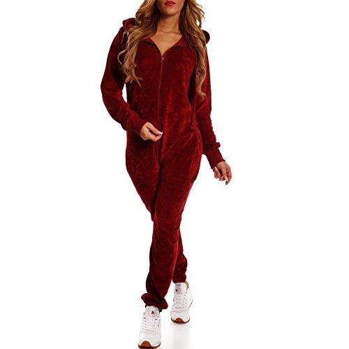Crazy Age Damen Jumpsuit aus Samt (Nicki, Velvet) Wohlfühlen mit Style. Elegant, Kuschelig, Weich. Overall, Ganzkörperanzug, Jogging - Freizeit Anzug, Onesie (Weinrot, L)