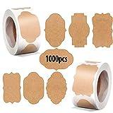 600Pcs Geschenk-Etiketten aus natürlichem Kraftpapier, Runde Selbstklebend Vintag Geschenkaufkleber...