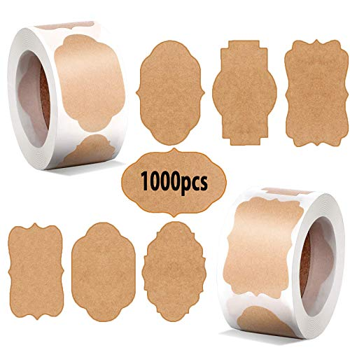 600Pcs Geschenk-Etiketten aus natürlichem Kraftpapier, Runde Selbstklebend Vintag Geschenkaufkleber für Geschenk, Kuchen, Backen, Verpackung, Basteln, Hochzeit Flaschen Einladungen