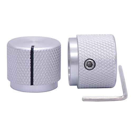 Taiss - 2 botones de potenciómetro electrónicos aluminio, para eje 6 mm diámetro, regulador volumen, botón audio, guitarra, conmutación, 20 diámetro x 17 altura