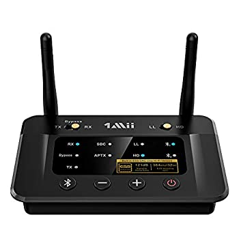 1Mii Bluetooth 5.0 Transmitter Receiver for Home Stereo TV HiFi Wireless Audio Adapter with Audiophile ESS DAC & AptX HD/Low Latency Long Range Optical RCA AUX 3.5mm Outputs/Inputs