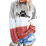 NANTE Top Loose Women's Blouse Dog Paw Print Gradient Color T Shirts Hollow Out Long Sleeve Shirt Womens Tops Costume Clothes (Red, XXL)