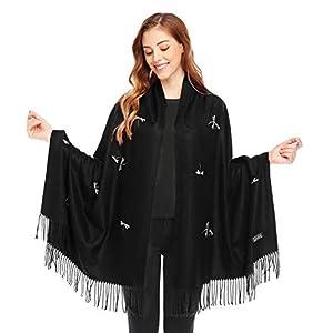 Bienvenu Dragonfly Detail Large Women Soft Cashmere Wool Wraps Shawls Stole Scarf