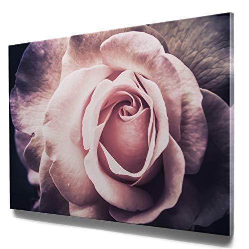 Traumhaftes Rosen Leinwand-Bild, Rosen rosa Vintage in 110x50cm. Oder 9 weitere, schöne Rosen Bilder als Wandbild zur Deko für Küche, Flur, Wohnzimmer & Schlafzimmer. Aufgespannt auf Holzrahmen