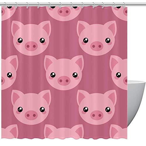 Bennigiry Duschvorhang mit Schwein-Gesicht, Polyester, 152,4 x 182,9 cm, schimmelresistent, antibakteriell, geruchlos, wasserdicht, dekorativer Badvorhang, Polyester, mehrfarbig, 72x72in