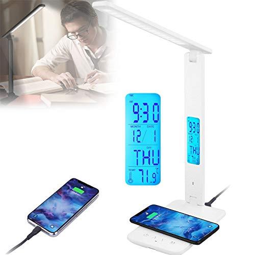 WDSZXH Lámpara de Escritorio Led, Lámpara de Oficina para Leer, Lámpara de Mesa 3 Niveles Regulables, Flexo Led Escritorio, Panel de Control Sensible, Puerto de Carga USB
