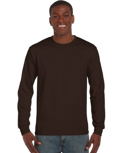 Gildan – Camiseta de algodón manga larga marrón marrón chocolate Large