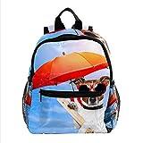 XiangHeFu Mochila escolar para niñas niño caminata al aire libre bolsa de viaje mochila perro tomando el sol en una tumbona Mochila estampada