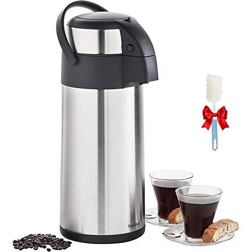 DLILI Lunchbox Kaffee Thermo-Getränkespender Isolierter Edelstahl-Vakuumkolben Krug Pump Action Airpot, für Heiß- und Kaltwassergetränke Getränke Tee Kaffee, 2,5 l