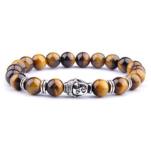 Royal Blue Tiger Eye Men Bracelet Beads Natural Stone Buddha Stretch Charm Bracelets for Women Men Jewelry Yellow Tiger-2 19Cm