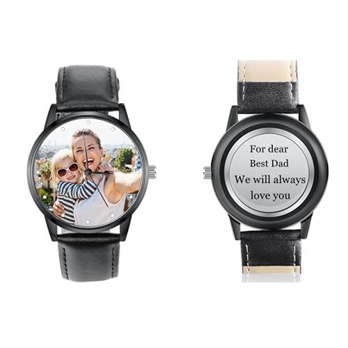 Foto Uhren für Männer Frauen Personalisierte Uhren mit Gravur Unisex Uhren Armbanduhren Geschenk für Papa Mama BFF Liebhaber (Disc-Black-M)