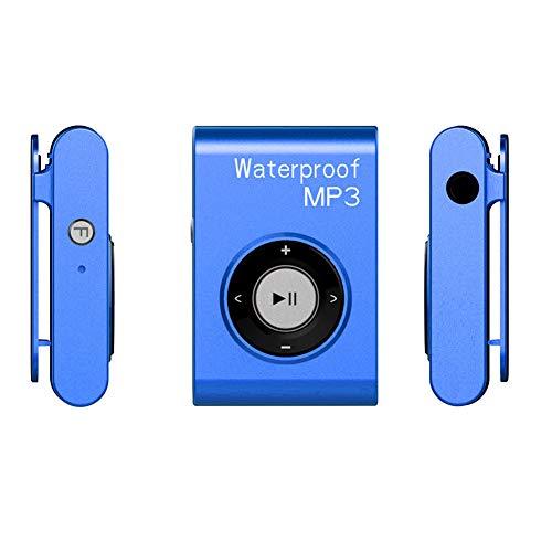 YCYLMQ IPX8 Wasserdicht MP3 Player, 8GB HiFi MP3 Musik Player Zum Schwimmen Und Laufen Mit Wasserdicht Kopfhörer,UnterstÜTzt FM Shuffle Funktion,Blau,16GB