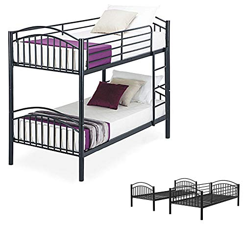 Panana Metal Single Bunk Bed Twin Sleeper Frame 3FT with Ladder Bedroom Steel Bedstead for Kids Teenagers Adult,Can split into 2pcs 3FT Beds (Black)
