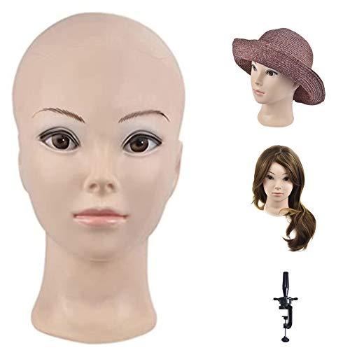 Ba Sha Tête d'entraînement pour professionnels de la cosmétologie - Tête de mannequin chauve pour la création de perruques et l'exposition - Inclut une pince de serrage