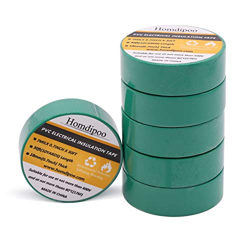 Homdipoo Electrical Tape Colors 6 Pack 3/4-Inch by 30 Feet, Voltage Level 600V Dustproof, Adhesive for General Home Vehicle Auto Car Power Circuit Wiring 3m Multicolor (Green)