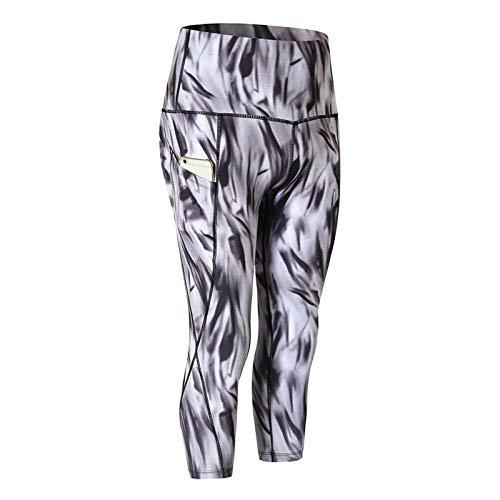 LYWZX Leggings De Yoga para Mujeres Sport Leggings Women High Waist Calf-Length Sports Pants Camo Women Yoga Leggings Stretchy Sport Wear Gym Pants-B_S