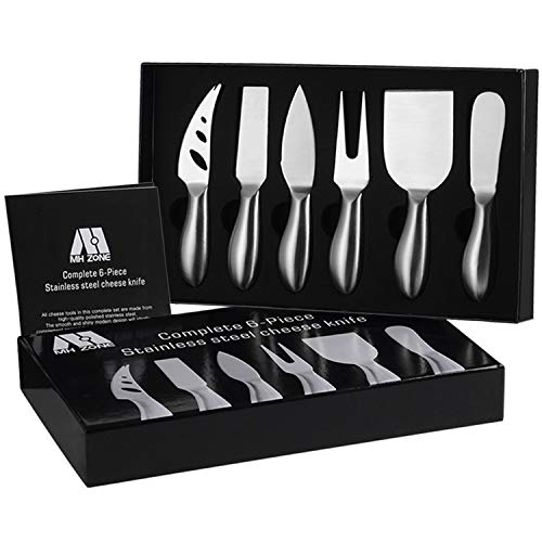 Premium 6-Piece Cheese Knife Set - MH ZONE Complete Stainless Steel Cheese Knives Gift Knives Sets Collection, Suit for the Wedding, Lover, Elders, Children and Friends, Perfect Christmas Gift