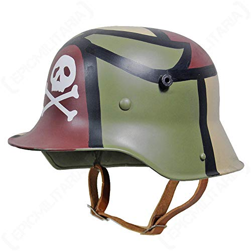 Replica WW1 German M16 Helm mit Liner Gr. L, 3 Farben Camo W Totenkopf