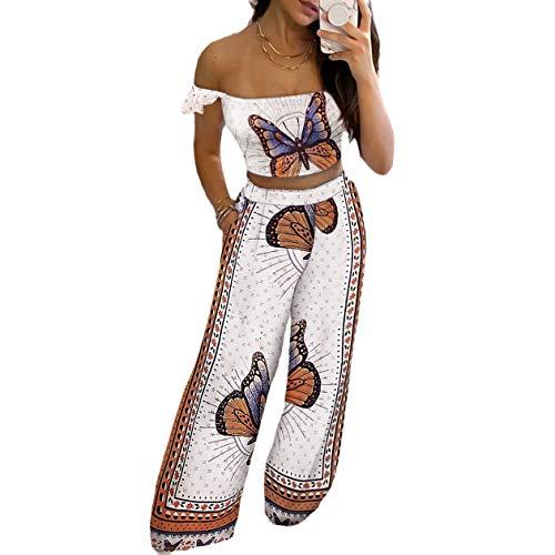 Conjunto de 2 camisetas de mujer con cuello en V sin mangas, camiseta de cintura alta, pantalones largos, camiseta de tirantes y pernera ancha, pantalones deportivos Mariposa blanca L