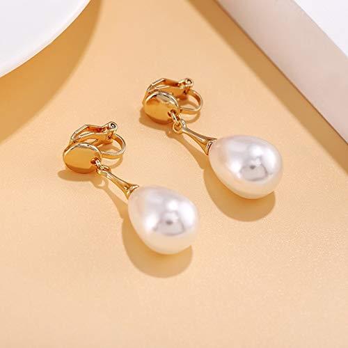 Grande Clip di Perle di Goccia d'Acqua Simulata su Orecchini Senza Piercing per Le Donne per La Festa di Nozze Orecchio Clip Regalo