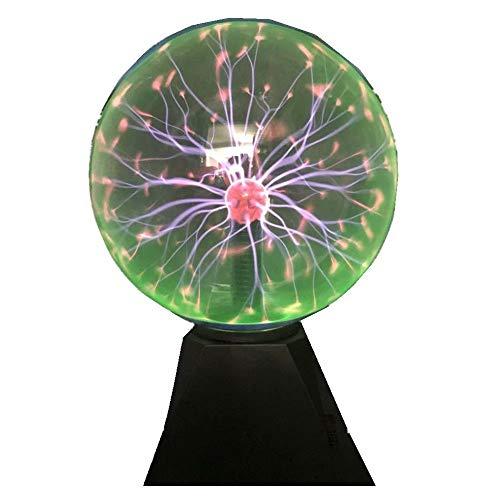 Hooyi Bola de Plasma mágica de 8 Pulgadas táctil Sonido Sensible al Plasma Lámpara de Escritorio Luz Nebulosa Esfera Relámpago Globo Decoración del hogar Bolas mágicas Sala de Ciencias Luz Nocturna