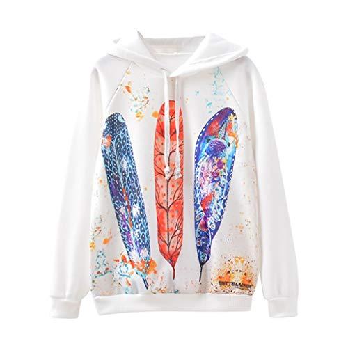 Reooly Venta de liquidación de otoño e Invierno suéter Informal con Capucha y Estampado de Hojas O-Leaf de Moda Informal para Mujer