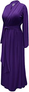 Solid Purple Plus Size Supersize Poly/Cotton Rayon/Spandex Jersey Robe with Attached Belt