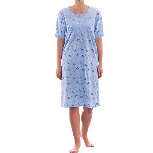 Zeitlos Nachthemd kurzarm mit floralem Druck (M, Blau)