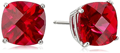 14k White Gold Cushion-Cut Checkerboard Created Ruby Stud Earrings (8mm)
