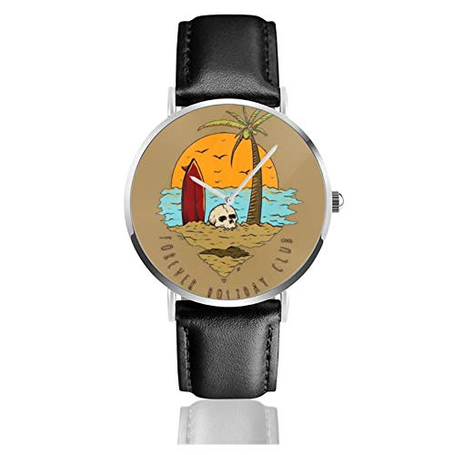 Skull and Surf Board In The Sunset Men Wrist Watches Genuine Leather For Gents Teenagers Boys