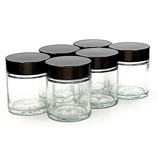 Petit Pot Pommade 30ml Verre Transparent (Paquet de 6) avec Couvercle Noir