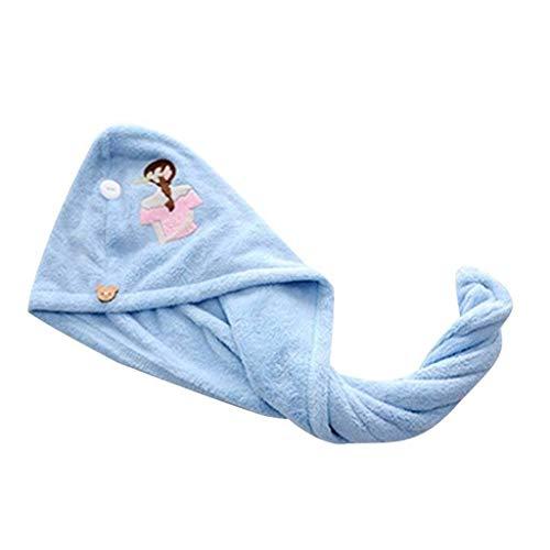 AOIWE MKWLBFCZ Mujer Mágica Secado de Pelo Sombrero de Toalla Microfibra Microfibra Secar rápido Turbante para baño Ducha Piscina Femenina Soild Color Soft Seco Pelo Sombreros (Color : Blue)