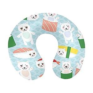 Divertido Kawaii Sushi y Lindo Gato Blanco con Ondas japonesas en Forma de U, Almohada de Viaje de Espuma viscoelástica para el Cuello, Almohada de Apoyo para la Cabeza y el Cuello para avión, Coche,