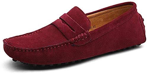Herren Klassische Bootsschuhe Echtes Leder Loafers Casual Sport Business Flache Slipper Fashion Slip On Klassische Wanderschuhe-Rotwein_42