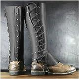 Protector de pierna de cuero medieval Hebilla de zapato Armadura de pierna de cuero retro, Cubierta de zapato con hebilla de cuero medieval con cordones para accesorios de disfraces de cosplay,Negro